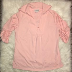 Columbia Button Front Hooded Shirt | Large